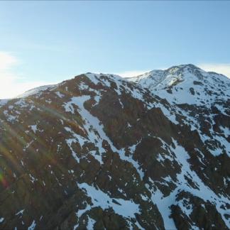 Snowy Rocky Mountain Morning Sun