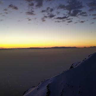 Mountaintop Foggy City Sunset